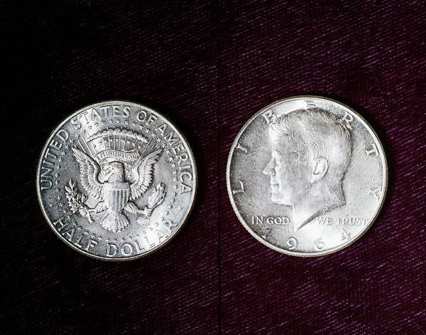 In God We Trust Photograph - 1964 United States Kennedy Half Dollar by Vintage Images
