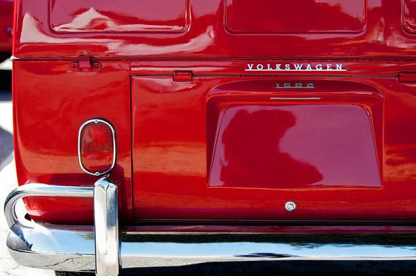Volkswagen Photograph - 1964 Volkswagen Transporter Deluxe Double Cab Pickup Taillight Emblem by Jill Reger
