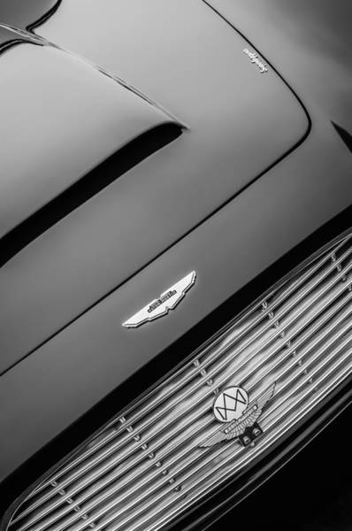 Photograph - 1965 Aston Martin Short Chassis Volante Hood Emblem -1172bw by Jill Reger