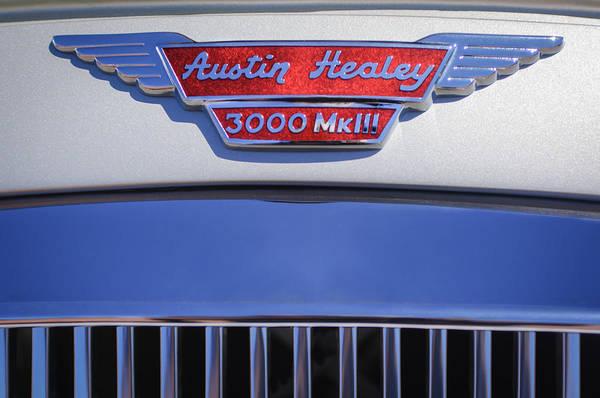 Healey Photograph - 1965 Austin-healey Bj8 Mk IIi Sports Convertible Emblem by Jill Reger