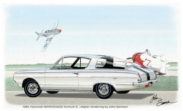 Roadrunner Painting - 1965 Barracuda  Classic Plymouth Muscle Car by John Samsen