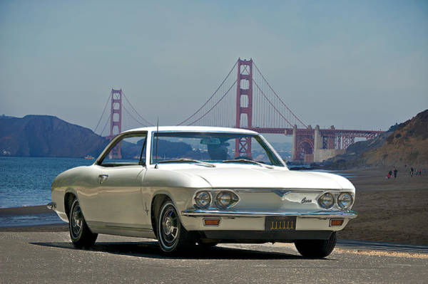 Corvair Photograph - 1965 Corvair At The Golden Gate Bridge by Dave Koontz