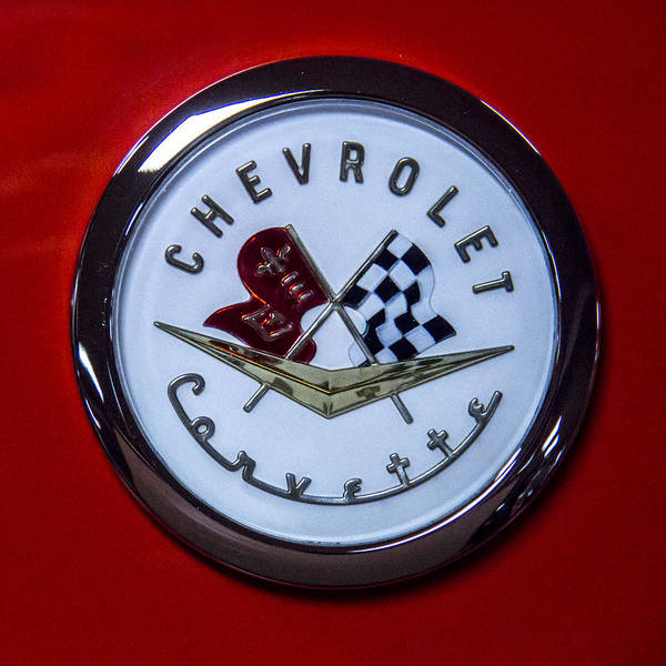 Wall Art - Photograph - 1965 Corvette Sting Ray Hood Emblem by Ben and Raisa Gertsberg