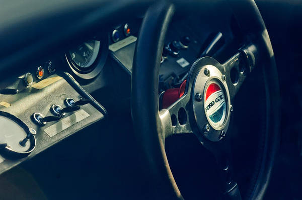 Photograph - 1965 Ford Gt 40 Steering Wheel Emblem by Jill Reger