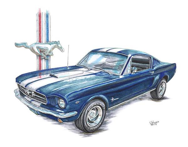 Ford Drawing - 1965 Ford Mustang by Shannon Watts
