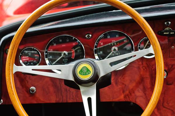 1965 Photograph - 1965 Lotus Elan S2 Steering Wheel Emblem by Jill Reger