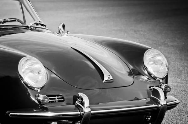 Cabriolet Photograph - 1965 Porsche 356c Cabriolet -1088bw by Jill Reger