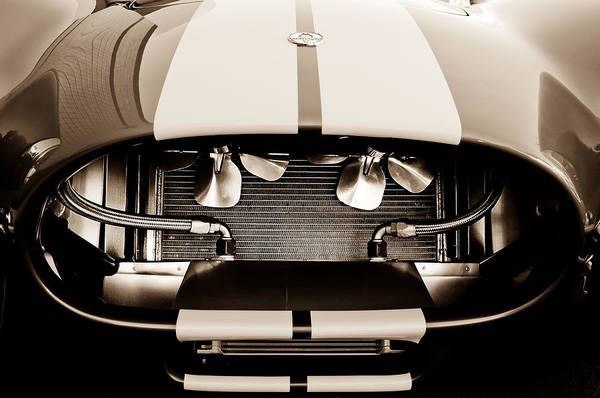 Shelby Cobra Photograph - 1965 Shelby Cobra Grille - Sepia - No Filter by Jill Reger