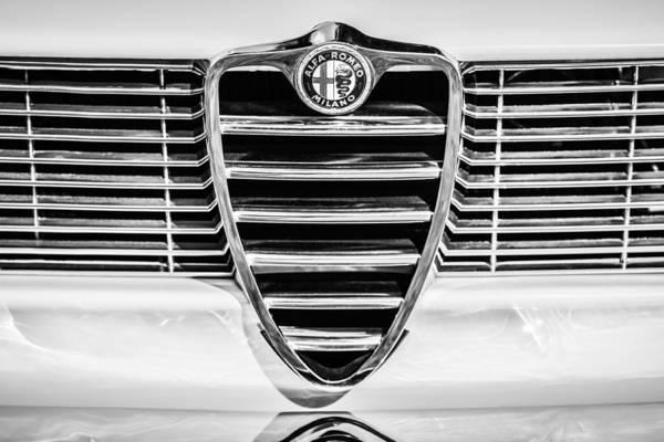 Photograph - 1966 Alfa Romeo Gtc Grille Emblem -1438bw by Jill Reger
