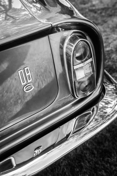 Photograph - 1966 Aston Martin Db6 Taillight Emblem -0618bw by Jill Reger