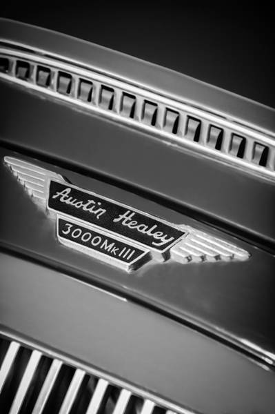 Healey Photograph - 1966 Austin-healey 3000 Mk IIi Bj8 Emblem -1075bw by Jill Reger
