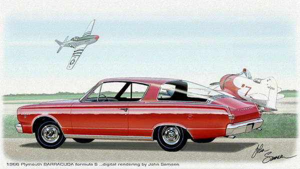 Wall Art - Painting - 1966 Barracuda  Classic Plymouth Muscle Car Sketch Rendering by John Samsen