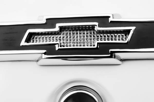 Biscayne Wall Art - Photograph - 1966 Chevrolet Biscayne Emblem -0092bw by Jill Reger