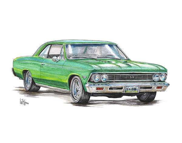 Chevrolet Drawing - 1966 Chevrolet Chevelle by Shannon Watts
