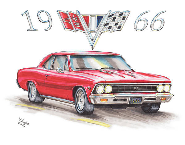 Chevrolet Drawing - 1966 Chevrolet Chevelle Ss At Night by Shannon Watts