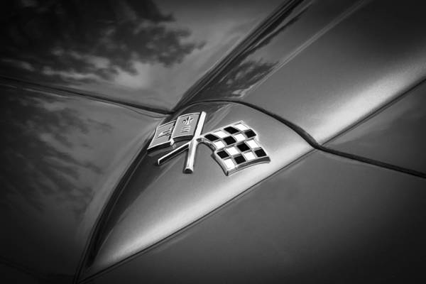 One Of A Kind Photograph - 1966 Chevrolet Corvette Coupe Emblem  Bw by Rich Franco