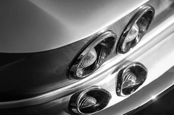 Photograph - 1966 Chevrolet Corvette Taillight -120bw by Jill Reger