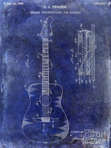 Guitar Neck Photograph - 1966 Fender Acoustic Guitar Patent Drawing Blue by Jon Neidert
