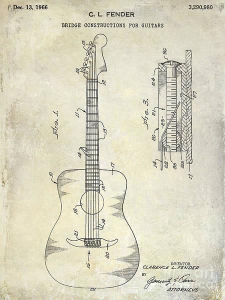 Guitar Neck Photograph - 1966 Fender Acoustic Guitar Patent by Jon Neidert