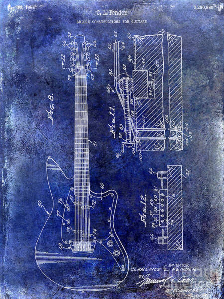 Stratocaster Photograph - 1966 Fender Guitar Patent Drawing Blue by Jon Neidert