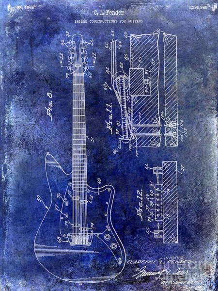 Guitar Neck Photograph - 1966 Fender Guitar Patent Drawing Blue by Jon Neidert