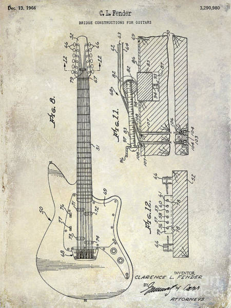 Stratocaster Photograph - 1966 Fender Guitar Patent Drawing  by Jon Neidert