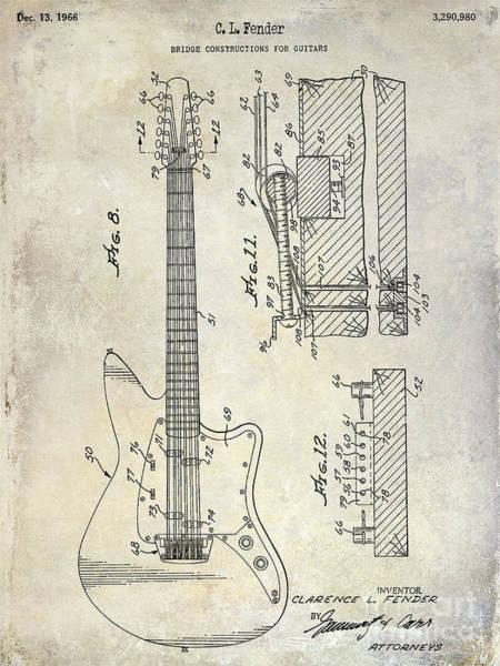 Guitar Neck Photograph - 1966 Fender Guitar Patent Drawing  by Jon Neidert