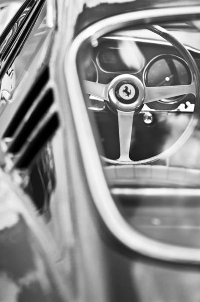 Photograph - 1966 Ferrari 275 Gtb Steering Wheel -0408bw by Jill Reger