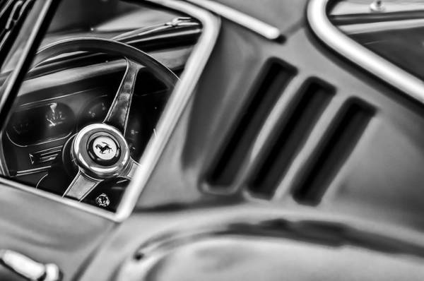 Photograph - 1966 Ferrari 275 Gtb Steering Wheel Emblem -0563bw by Jill Reger