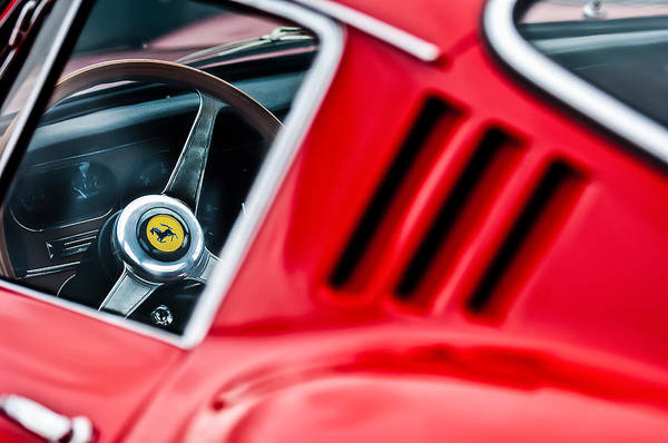 Wall Art - Photograph - 1966 Ferrari 275 Gtb Steering Wheel Emblem -0563c by Jill Reger