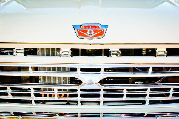 Grilles Photograph - 1966 Ford F100 Pickup Truck Grille Emblem by Jill Reger
