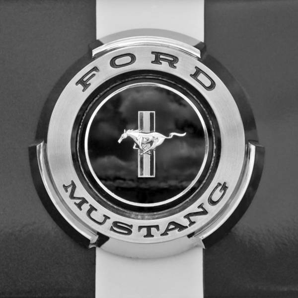 Ford Mustang Photograph - 1966 Ford Mustang Shelby Gt 350 Emblem Gas Cap -0295bw by Jill Reger