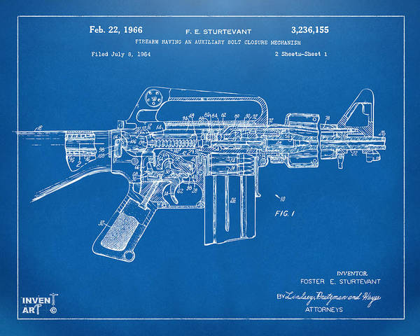 Digital Art - 1966 M-16 Gun Patent Blueprint by Nikki Marie Smith