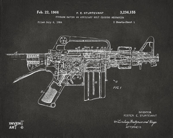 Digital Art - 1966 M-16 Gun Patent Gray by Nikki Marie Smith