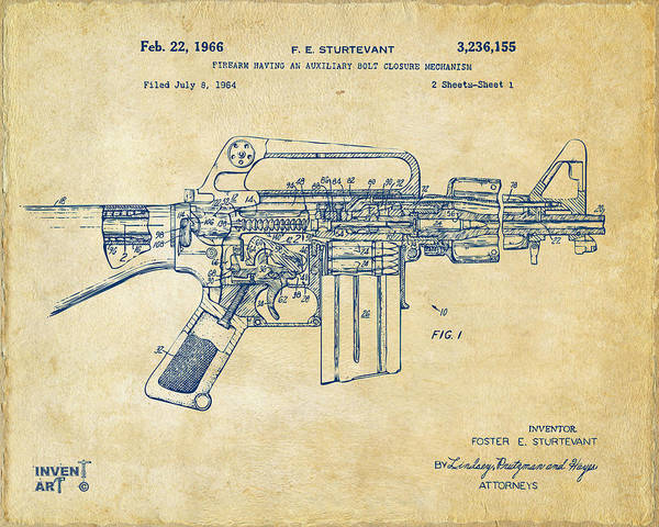 Digital Art - 1966 M-16 Gun Patent Vintage by Nikki Marie Smith