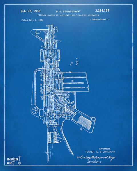 Digital Art - 1966 M-16 Rifle Patent Blueprint by Nikki Marie Smith