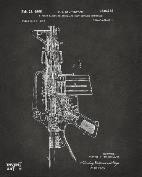 Digital Art - 1966 M-16 Rifle Patent Gray by Nikki Marie Smith