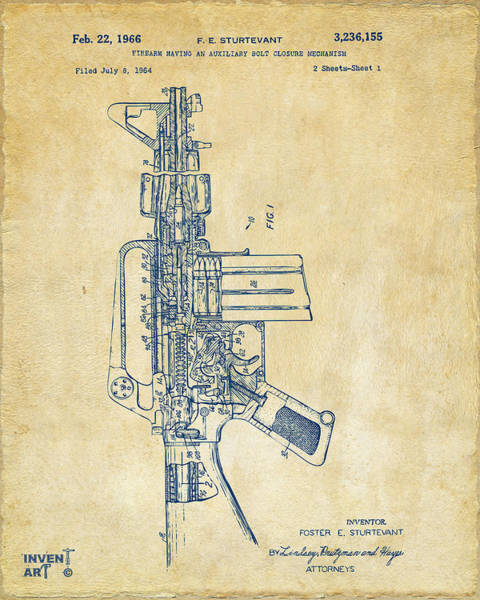 Digital Art - 1966 M-16 Rifle Patent Vintage by Nikki Marie Smith