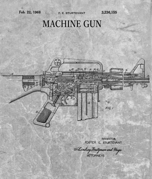 Drawing - 1966 Machine Gun Patent Charcoal by Dan Sproul