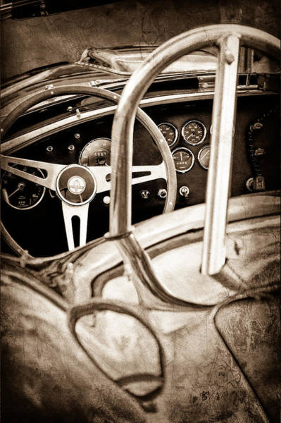 Shelby Cobra Photograph - 1966 Shelby 427 Cobra Steering Wheel Emblem by Jill Reger
