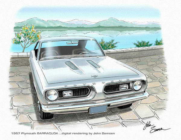 Wall Art - Painting - 1967 Barracuda  Classic Plymouth Muscle Car Sketch Rendering by John Samsen