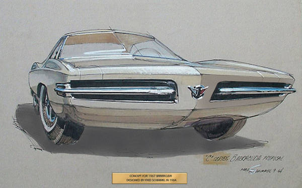 Wall Art - Drawing - 1967 Barracuda  Plymouth Vintage Styling Design Concept Rendering Sketch Fred Schimmel by ArtFindsUSA