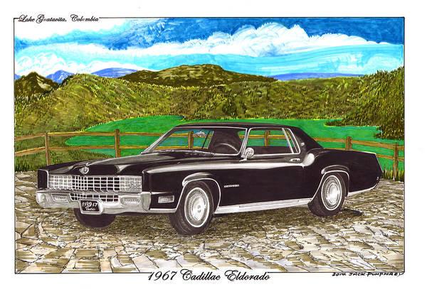 Guatavita Wall Art - Painting - 1967 Cadillac Eldorado At Lake Guatavita by Jack Pumphrey