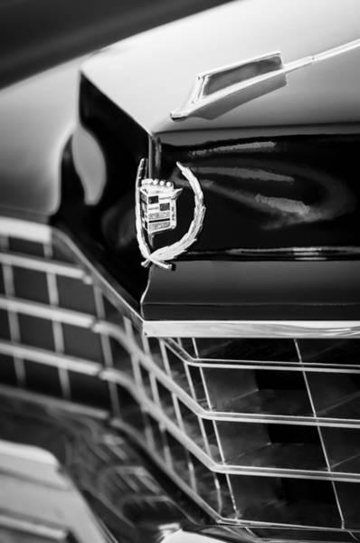 Eldorado Photograph - 1967 Cadillac Eldorado Grille Emblem -0748bw by Jill Reger