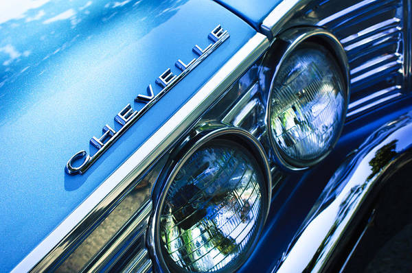 Landmarks Photograph - 1967 Chevrolet Chevelle Malibu Head Light Emblem by Jill Reger