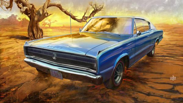 Wall Art - Digital Art - 1967 Dodge Charger In The Desert by Garth Glazier