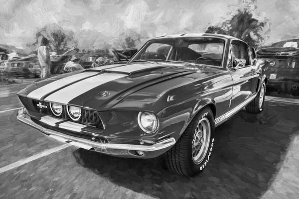 Interceptor Photograph - 1967 Ford Shelby Mustang Gt500 Painted Bw by Rich Franco