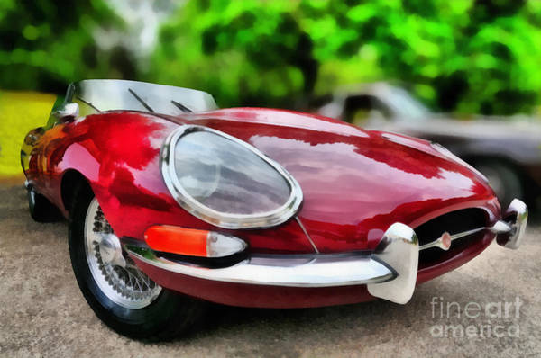 Car Show Painting - 1967 Jaguar E Type by George Atsametakis