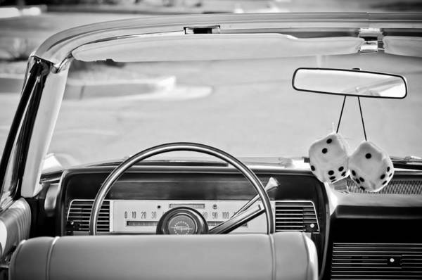 1967 Photograph - 1967 Lincoln Continental Steering Wheel -014bw by Jill Reger