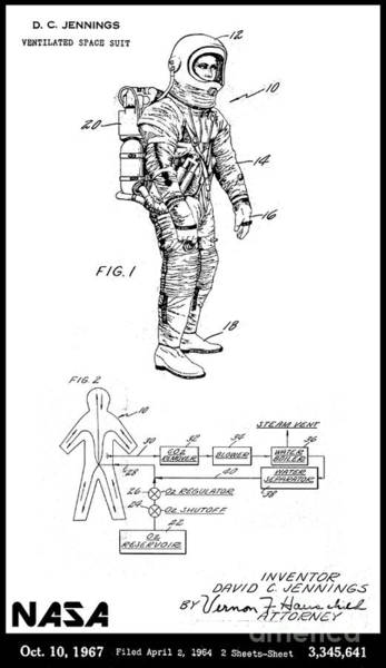 Vintage Patent Wall Art - Digital Art - 1967 Nasa Astronaut Ventilated Space Suit Patent Art 3 by Nishanth Gopinathan